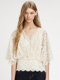 Beyond Vintage - Bell-Sleeve Lace Top