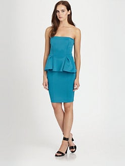 Torn - Camilla Strapless Scuba Jersey Peplum Dress
