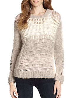 Augden - Alpaca Open-Knit Colorblock Sweater