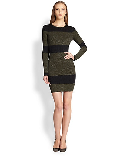 Metallic Striped Textured Body-Con Dress