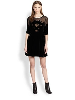 tba (to be adored) - Sheer-Paneled Velvet Bat Dress