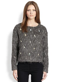 tba (to be adored) - Rhinestone-Embellished Fuzz-Textured Sweater