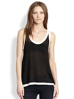 AIKO - Semi-Sheer Open-Back Slub Tank