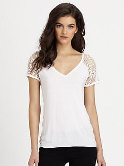 Bailey 44 - Crocheted-Back Jersey Tee