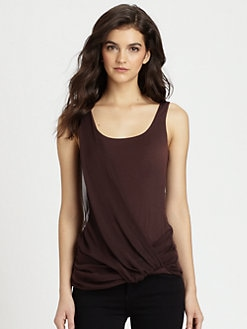 Bailey 44 - Draped Silk-Paneled Jersey Tank