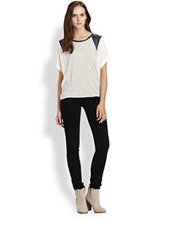 Boundary & Co. - Leather & Silk-Paneled Tee