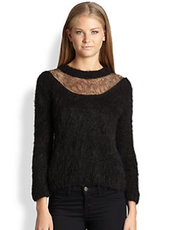 Augden - Lofty Metallic Lace-Yoke Alpaca Sweater
