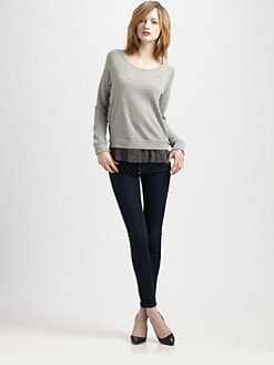 Clu - Lace-Trim Cotton and Cashmere Pullover Top