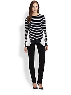 Clu - Striped Ruffle-Trim Sweater