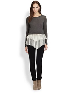 Clu - Swiss-Dot Ruffle-Trim Tee