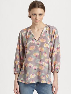 Tucker - Silk Tie-Neck Blouse