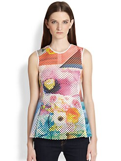 Clover Canyon - Fluorescent Lights Printed Laser-Cut Peplum Top