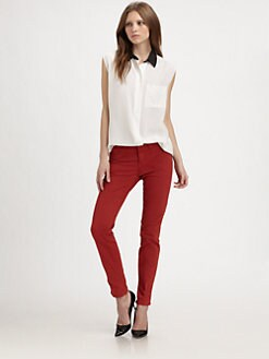 Equipment - Two-Tone Silk Top