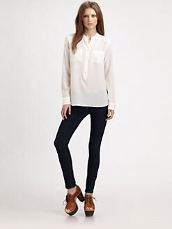 Equipment - Ava Silk Collarless Top