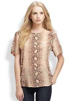 Equipment - Riley Silk Python-Print Top