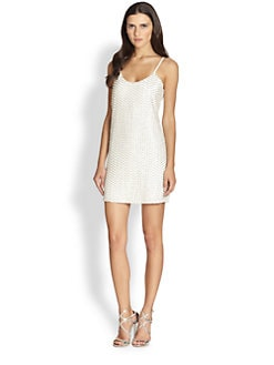 Parker - Kate Leather-Sequin Mini Dress