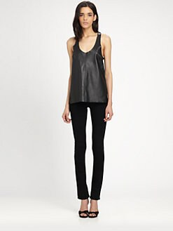 PJK Patterson J. Kincaid - Magella Leather & Silk Tank