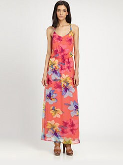 Ella Moss - Hibiscus Silk Chiffon Maxi Dress