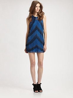Parker - Wave Silk Embroidered Tank Dress