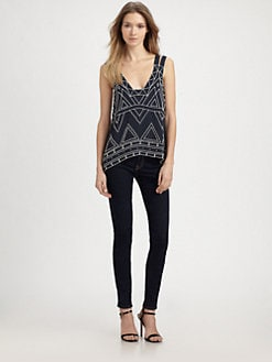 Parker - Nadia Beaded Silk V-Back Top