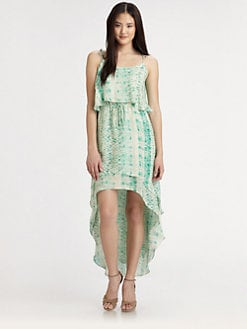 Parker - Cara Silk Hi-Lo Ruffle Dress