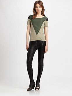 AIKO - June Leather-Trim Top