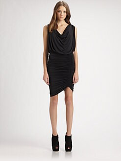 Beyond Vintage - Ruched Cowlneck Dress