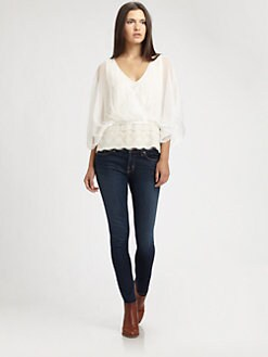 Beyond Vintage - Lace-Trim Surplice Blouse