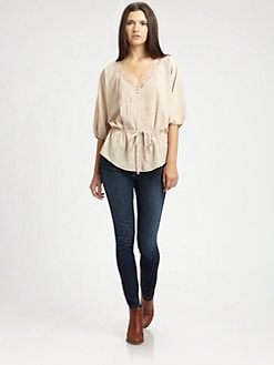 Beyond Vintage - Lace-Trim Dolman Top
