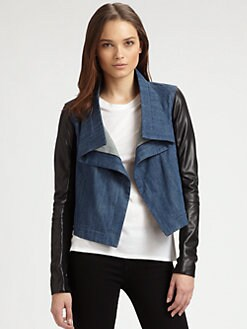 Veda - Leather-Sleeve Denim Jacket