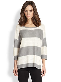 Design History - Metallic-Flecked Striped Dolman-Sleeved Sweater