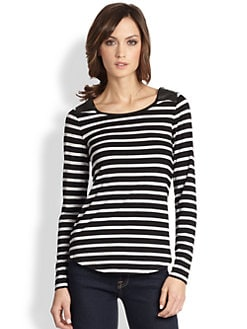 Design History - Faux Leather-Paneled Striped Stretch Jersey Top