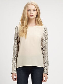 Equipment - Liam Silk Python-Print Top