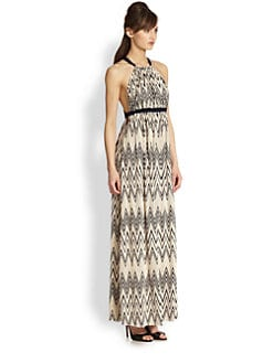 T-bags Los Angeles - Zigzag-Print Halter Maxi Dress