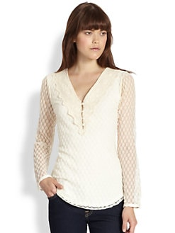 Beyond Vintage - Lace-Trim Blouse