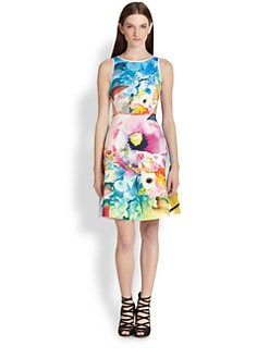 Clover Canyon - Fluorescent Rose Printed Cutout Dress