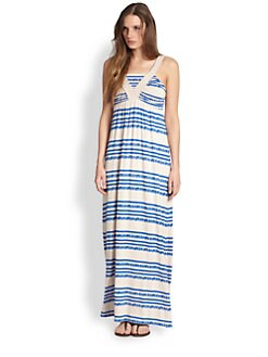 Design History - Braided-Trim Striped Maxi Dress