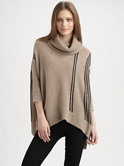 360 Sweater - Pia Striped Cashmere Poncho Top