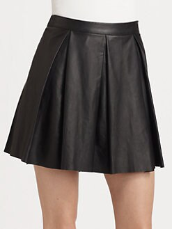 PJK Patterson J. Kincaid - Tartini Pleated Leather Mini Skirt