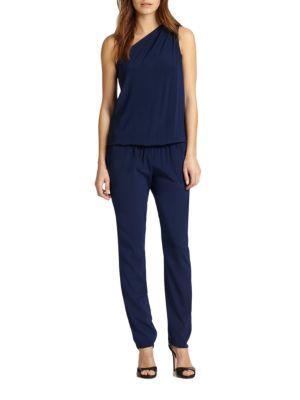 Lulu Stretch Silk One-Shoulder Jumpsuit