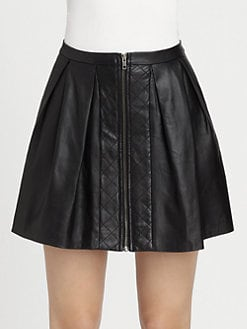 Timo Weiland - Alena Quilted & Pleated Leather Skirt