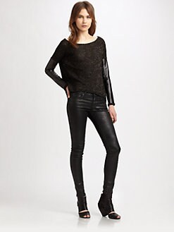 Generation Love - Faux Leather-Trim Sweater