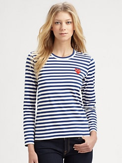 Comme des Garcons Play - Striped Emblem Tee