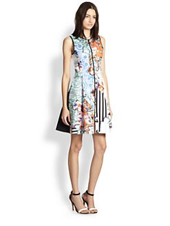 Clover Canyon - Zip-Front Map-Print Neoprene Dress
