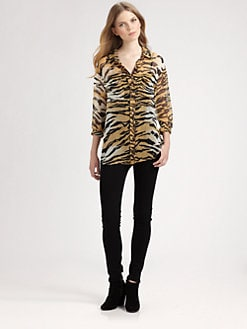 Equipment - Tiger-Print Silk Shirt