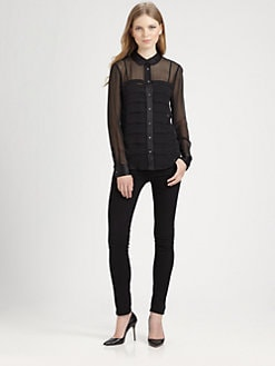 Equipment - Sophie Pleated Silk Shirt