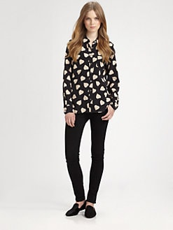 Equipment - Brett Heart-Print Silk Shirt