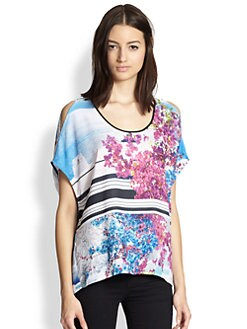 Clover Canyon - Santorini Printed Cutout-Shoulder Top