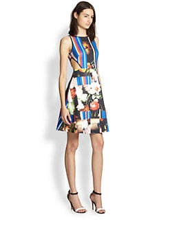 Clover Canyon - Grecian Bouquet Cutout Printed Neoprene Dress