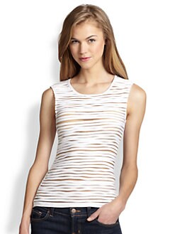 Bailey 44 - Tiki Torch Sheer Mesh-Striped Tank